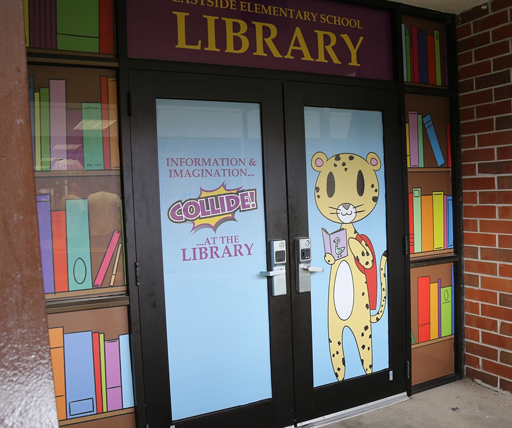 Library entrance Eastside Elementary donated by Accuform Signs